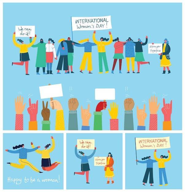 Conjunto de ilustração juntos mais forte. conceito feminino e empoderamento da mulher Vetor Premium