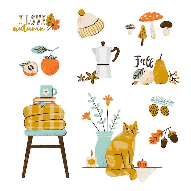 Conjunto de ilustração outono: cafeteira, frutas, manta aconchegante, folhas caindo, velas, gato bonito, cogumelos. coleção de elementos da temporada de outono. Vetor Premium