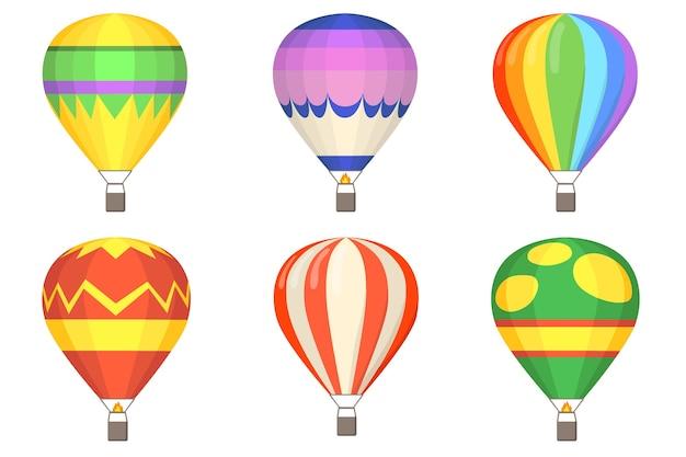 Conjunto de ilustração plana de balões de ar quente. balões coloridos de desenhos animados com cestas isoladas coleção de ilustração vetorial. conceito de vôo, céu e verão Vetor grátis