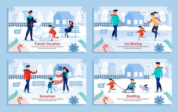 Conjunto de ilustração plana de inverno feliz família entretenimento Vetor Premium
