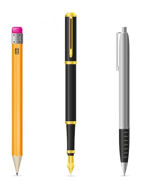 Conjunto de ilustração realista caneta e lápis vector Vetor Premium