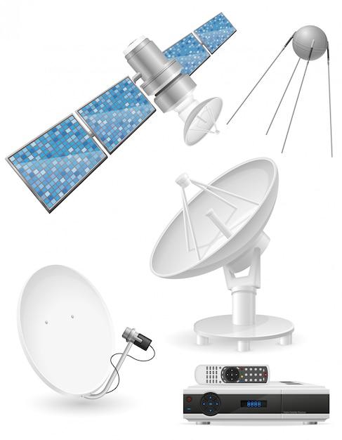 Conjunto de ilustração realista vector de transmissão por satélite Vetor Premium