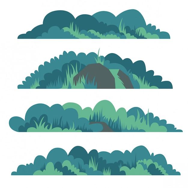 Conjunto de ilustração vetorial arbusto plana Vetor Premium