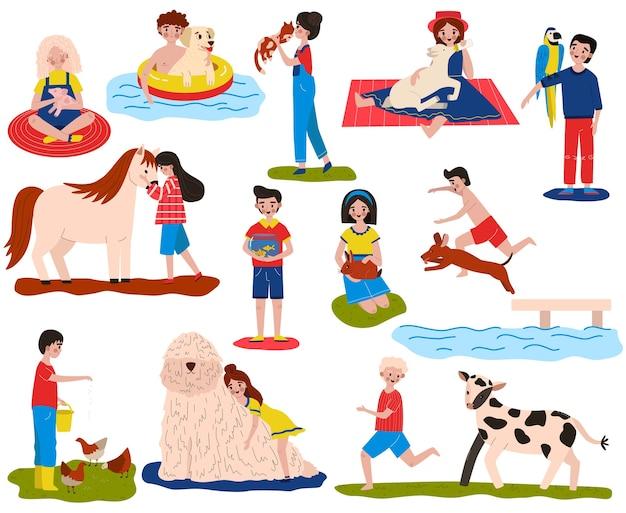 Conjunto de ilustração vetorial de animais de estimação, desenhos animados, personagens infantis de desenho animado, feliz proprietário, brincam com animais, abraçam, alimentam e cuidam de animais de estimação Vetor Premium
