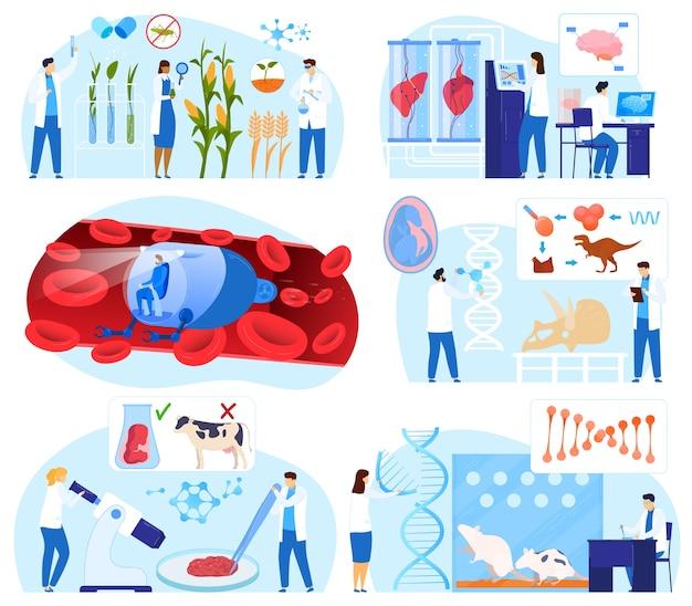 Conjunto de ilustração vetorial de biotecnologia científica, personagens minúsculos de cientista em desenhos animados trabalham, gene de dna de pesquisa isolado no branco Vetor Premium