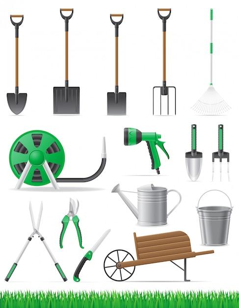 Conjunto de ilustração vetorial de ferramenta de jardim Vetor Premium