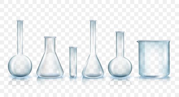 Conjunto de ilustração vetorial de produtos vidreiros de laboratório Vetor Premium