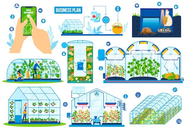 Conjunto de ilustração vetorial de tecnologia de agricultura com efeito de estufa. Vetor Premium