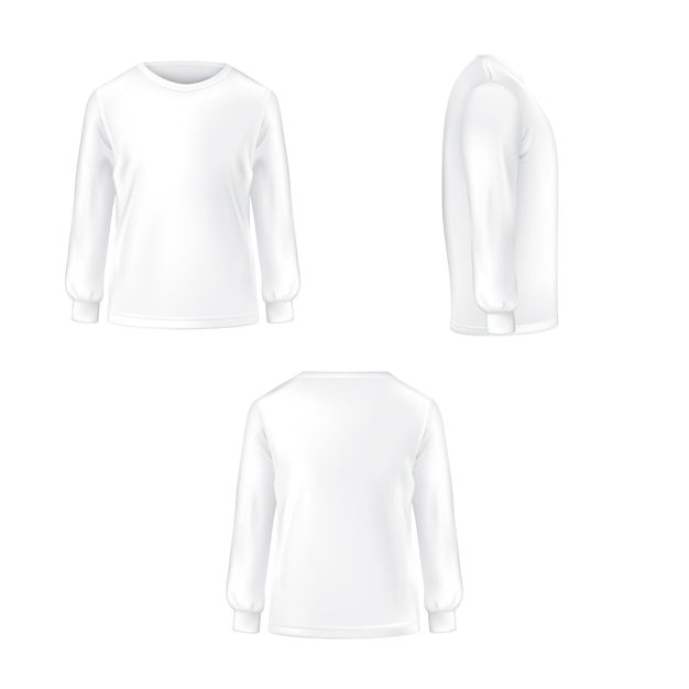 Conjunto de ilustração vetorial de uma camiseta branca com mangas compridas. Vetor grátis