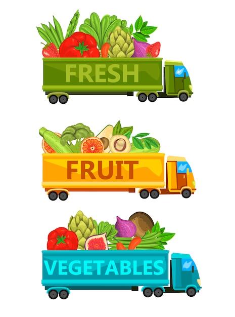 Conjunto de ilustrações com caminhões cheios de legumes frescos, frutas e bagas. Vetor Premium