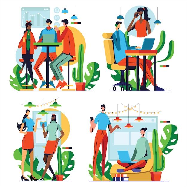 Conjunto de ilustrações com pessoas de negócios reunidos em coworking com design plano Vetor Premium