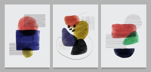 Conjunto de ilustrações criativas e minimalistas pintadas à mão Vetor Premium