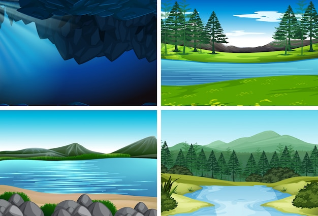 Conjunto de ilustrações da natureza Vetor grátis