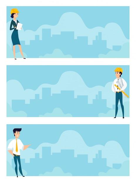 Conjunto de ilustrações de arquitetos no trabalho Vetor Premium