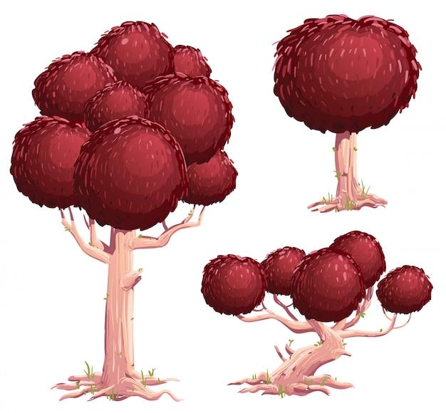 Conjunto de ilustrações de árvore Vetor Premium