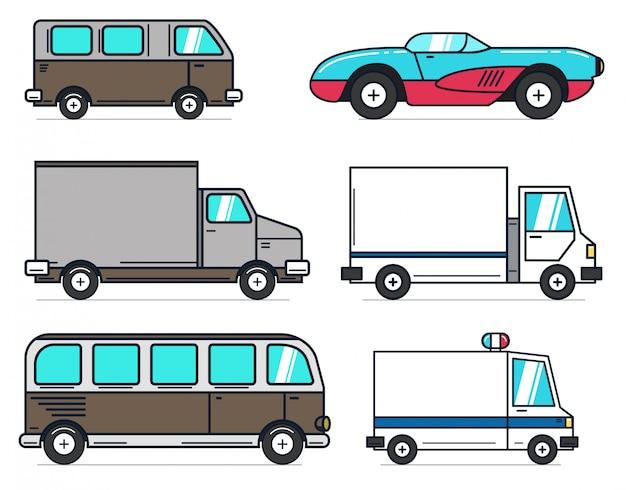 Conjunto de ilustrações de carro dos desenhos animados sobre fundo branco. melhor para animação, movimento, infográfico. elemento para o logotipo, etiqueta, emblema, sinal. ilustração Vetor Premium