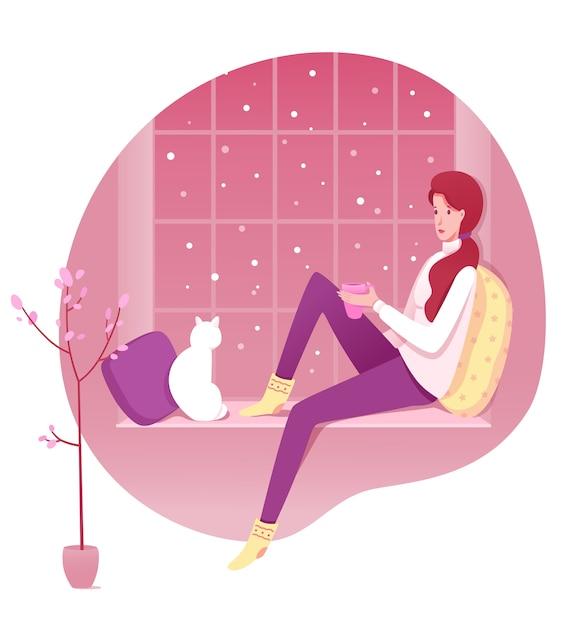 Conjunto de ilustrações de descanso confortável em casa, jovem sentada no personagem de desenho animado do peitoril da janela. acessórios para uma atmosfera de inverno aconchegante. Vetor Premium