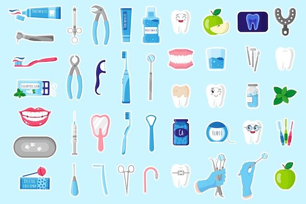 Conjunto de ilustrações de desenhos animados de adesivos com ferramentas médicas odontológicas terapêuticas, cirúrgicas e de cuidados para tratamento dentário, cavidade oral e cuidados com os dentes. conceito odontológico. Vetor Premium