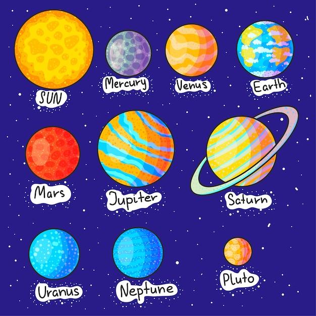 Conjunto de ilustrações de desenhos animados de mão desenhada de planetas do sistema solar Vetor Premium