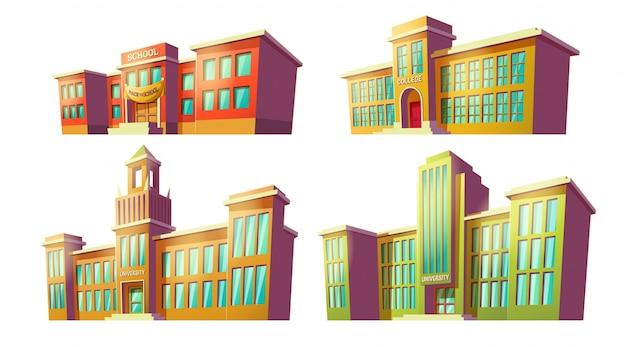 Conjunto de ilustrações de desenhos animados vetoriais de várias cores antigas, instituições educacionais retras, escolas. Vetor grátis