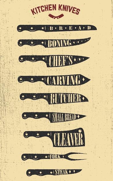 Conjunto de ilustrações de facas de cozinha mão desenhada. elementos para cartaz, menu, panfleto. ilustrações Vetor Premium
