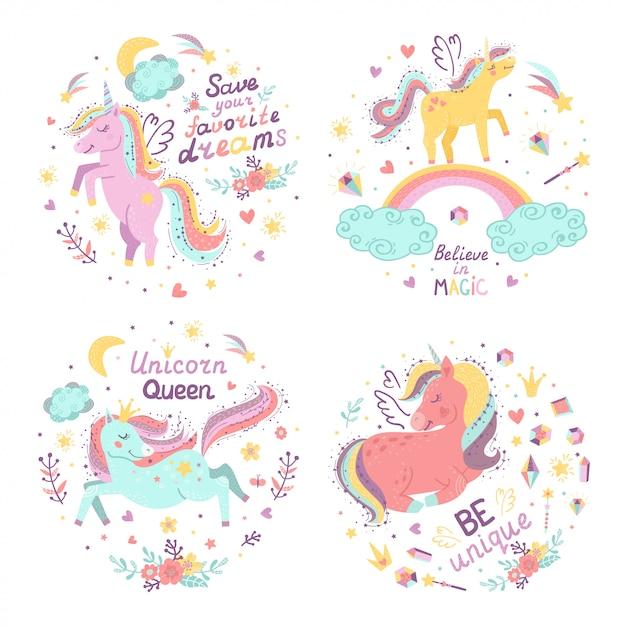 Conjunto de ilustrações de fantasia com unicórnios bonitos. Vetor Premium