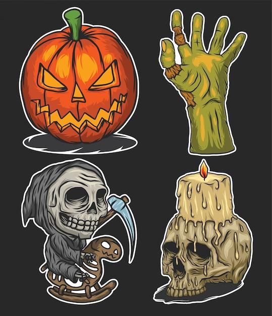 Conjunto de ilustrações de halloween Vetor Premium
