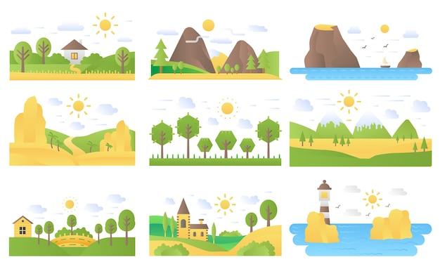 Conjunto de ilustrações de ícones de natureza de conceito plano de desenho de paisagem Vetor Premium