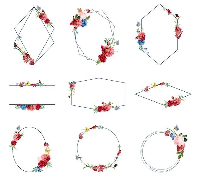 Conjunto de ilustrações de moldura floral Vetor grátis