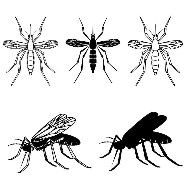Conjunto de ilustrações de mosquitos. elemento para logotipo, etiqueta, emblema, sinal. imagem Vetor Premium