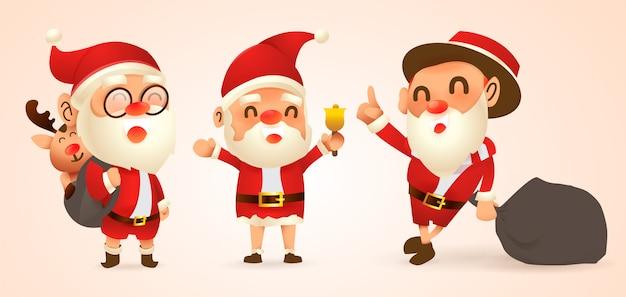 Conjunto de ilustrações de natal dos desenhos animados Vetor Premium