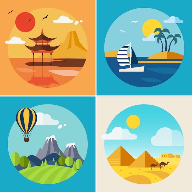Conjunto de ilustrações de paisagem de férias de verão Vetor Premium