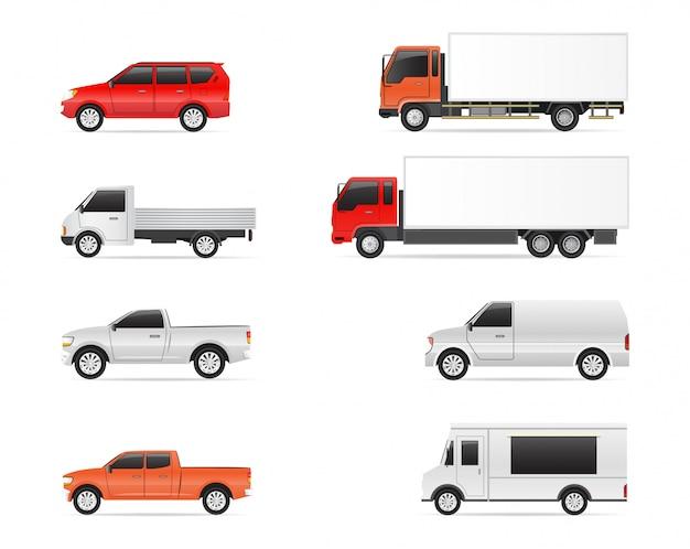 Conjunto de ilustrações de transporte comercial, carro, van e caminhões de entrega Vetor Premium