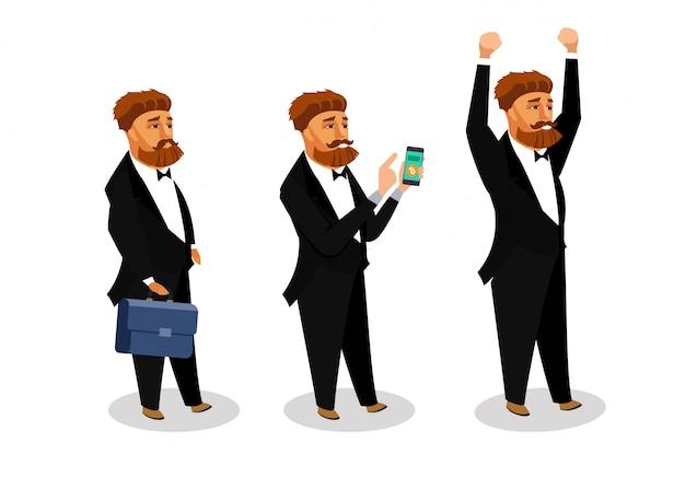 Conjunto de ilustrações de vetor de empresário bem sucedido. Vetor Premium