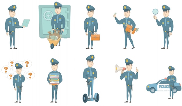 Conjunto de ilustrações de vetor jovem policial caucasiano Vetor Premium