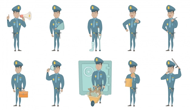 Conjunto de ilustrações de vetor jovem policial hispânico Vetor Premium