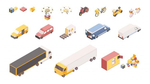 Conjunto de ilustrações isométrica de símbolos de serviço de entrega. veículos de transporte diferentes, armazém de empresa de logística isolado Vetor Premium