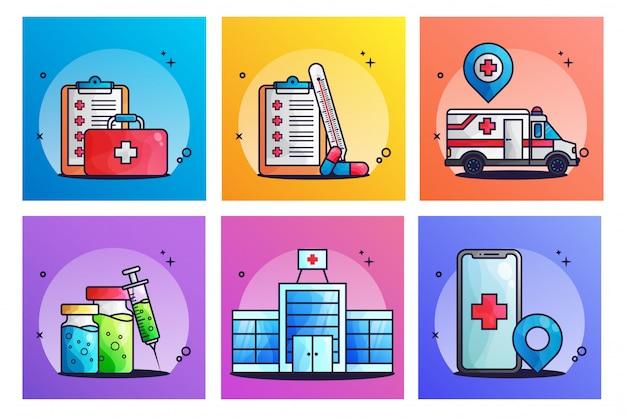 Conjunto de ilustrações médicas Vetor Premium