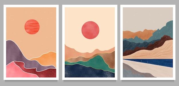 Conjunto de ilustrações minimalistas criativas pintadas à mão de meados do século moderno. fundo natural da paisagem abstrata. montanha, floresta, mar, céu, sol e rio Vetor Premium