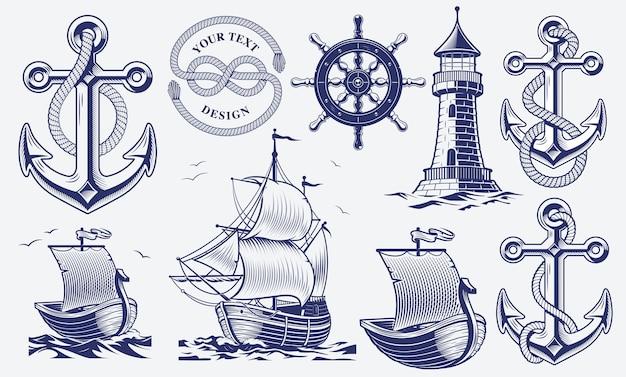 Conjunto de ilustrações náuticas vintage em preto e branco Vetor Premium