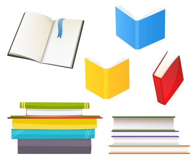 Conjunto de ilustrações planas de vários livros Vetor Premium