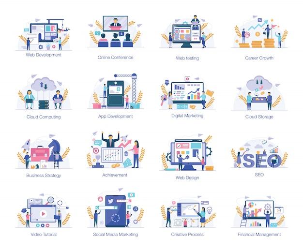 Conjunto de ilustrações planas do comércio eletrônico Vetor Premium