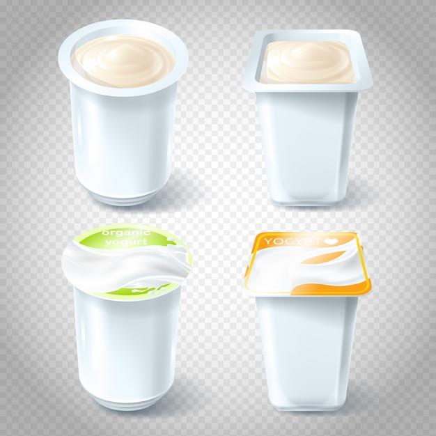 Conjunto de ilustrações vetoriais de copos de iogurte de plástico. Vetor grátis
