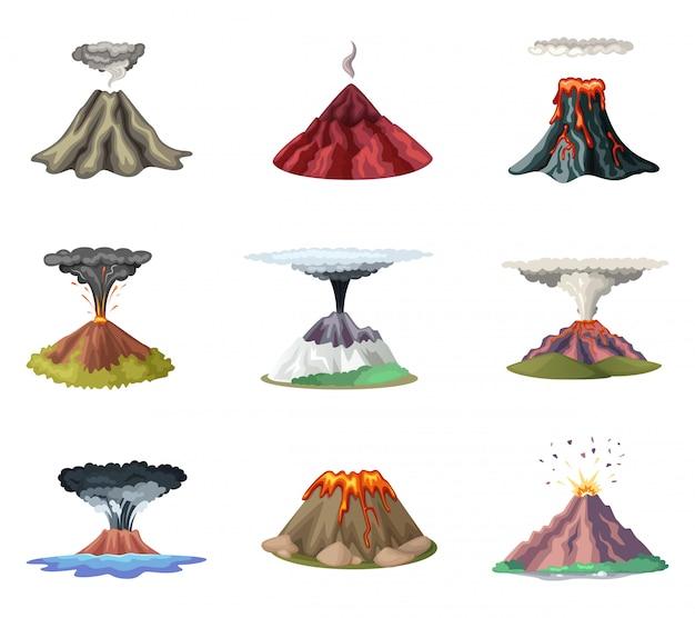 Conjunto de ilustrações vetoriais de montanhas e explosão quente do vulcão Vetor Premium