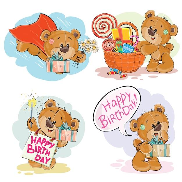 Conjunto de ilustrações vetoriais de vetores de urso de peluche marrom deseja-lhe um feliz aniversário. Vetor grátis