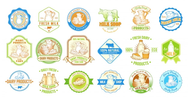 Conjunto de ilustrações vetoriais, emblemas, adesivos, rótulos, selos para leite e produtos lácteos Vetor grátis