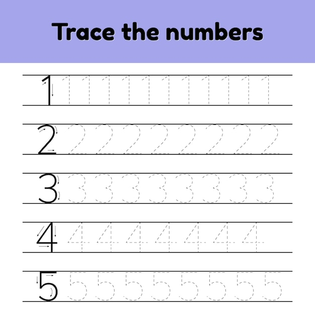 Conjunto de ilustrações vetoriais. número da linha de rastreamento para crianças do jardim de infância e preshool. Vetor Premium