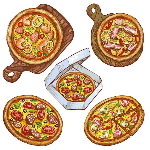 Conjunto de ilustrações vetoriais pizza integral e fatia, pizza em uma placa de madeira, pizza em uma caixa para entrega. Vetor grátis