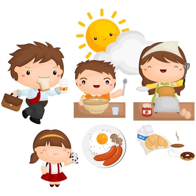 Conjunto de imagem de café da manhã Vetor Premium