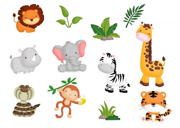Conjunto de imagens de animais da selva Vetor Premium